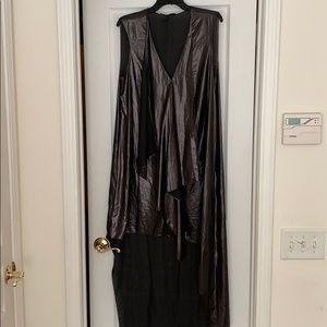 BCBG sleeveless v front asymmetrical dress